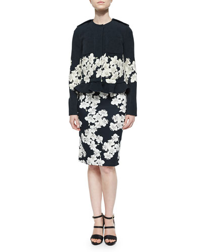 Anical Floral-Border Jacket & Pencil Dress