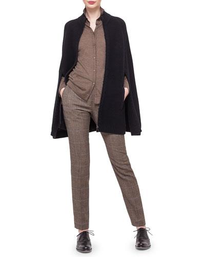 Cashmere-Blend Pique Knit Cape, Boyfriend Fine-Stripe Cardigan & Melvin Prince of Wales Print Pants