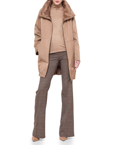 Fur-Lined Tech Fabric Reversible Coat, Mock-Neck Zip-Front Top & Farrah Prince of Wales Boot-Cut Pants