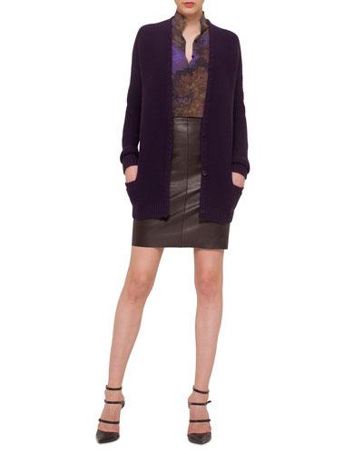 Cashmere-Blend Ribbed Boyfriend Cardigan, Floral-Print Slit-Front Tunic, Napa Leather Pencil Skirt & Enchanted Floral-Print Cashmere-Blend Scarf