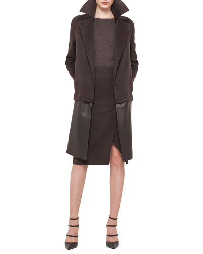 Double-Face Cashmere Coat w/Zip-Off Leather Hem, Rose Jacquard Half-Sleeve Top & Double-Faced High-Waisted Slit Pencil Skirt