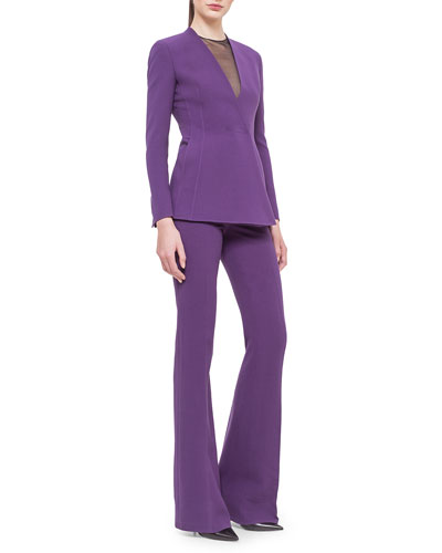 Asymmetric Snap-Front Cardigan Jacket, Jewel-Neck Tulle V-Inset Top & Farrah Wool-Blend Pants