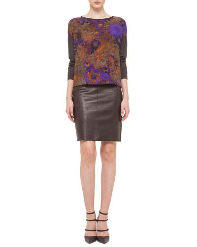 Mousseline Flower-Print Sweater & Napa Leather Pencil Skirt