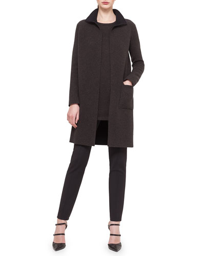 Cashmere Reversible Long Coat, Round-Neck Long-Sleeve Cashmere Top & Melissa Techno Slim Pants