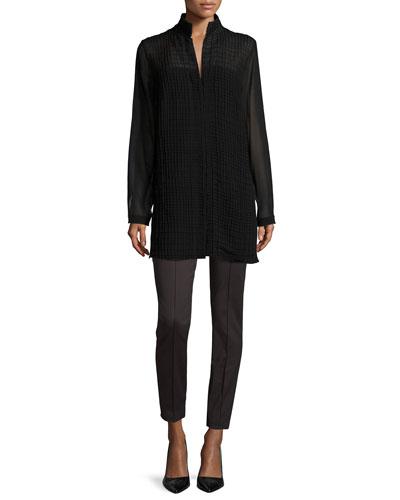 Georgette-Grid Long-Sleeve Blouse & Melissa Techno Cotton Pants