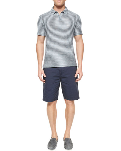 Striped Short-Sleeve Polo Shirt & Woven Cotton Shorts