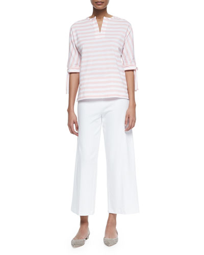 Striped Tie-Sleeve Tunic & Wide-Leg Interlock Pants, Petite