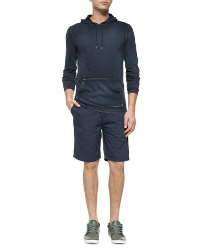 Knit Pullover Hoodie & Woven Cotton Shorts