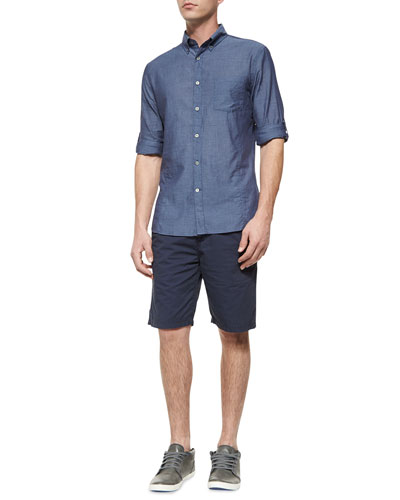 Solid Roll-Tab Woven Shirt & Woven Cotton Shorts