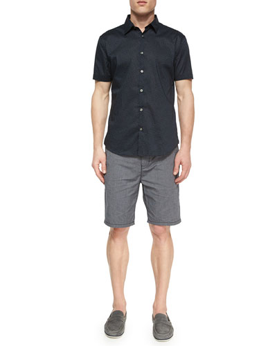 Printed Short-Sleeve Shirt & Contrast-Stitch Woven Shorts