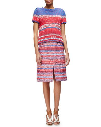 Short-Sleeve Mercerized Cotton Pullover & Yarn-Dyed Soft Silk Midi Skirt