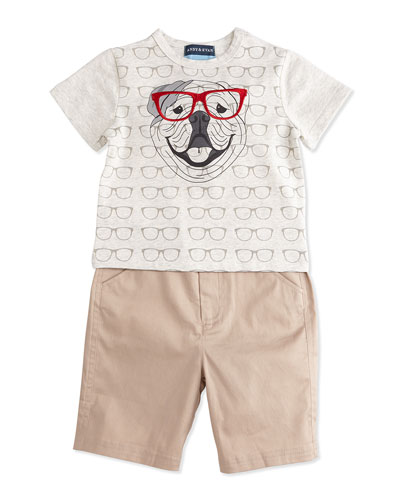 Glasses-Print Bulldog Jersey Tee & Khaki Twill Shorts