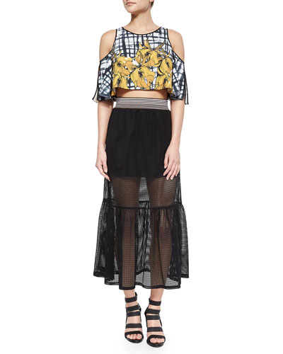 Shattered Garden Printed Flutter Top & Square-Mesh Sheer/Solid Skirt