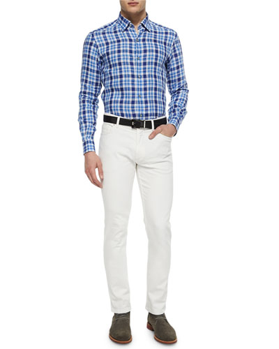 Medium-Check Linen Sport Shirt & Slim Fit Five-Pocket Denim Jeans
