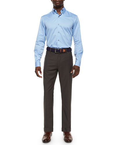 3-Ply Cotton Dress Shirt & Wool Five-Pocket Trousers