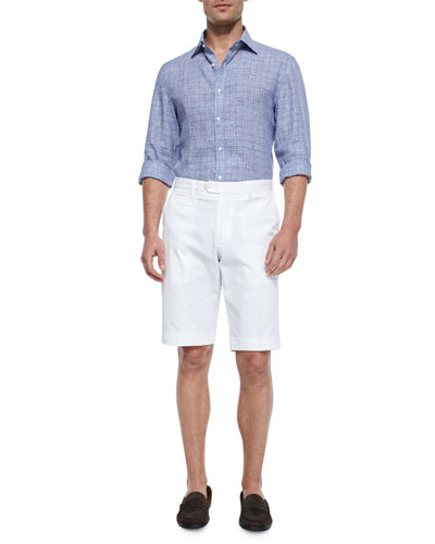 Grid-Plaid Woven Sport Shirt & Woven Cotton Shorts