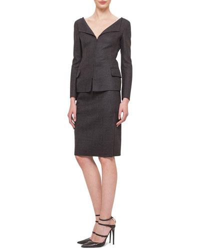 Glen Plaid Bateau-Neck Jacket & Glen Plaid Zip-Pocket Skirt