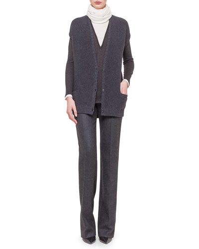 Stretch-Cashmere Reverse Ribbed Vest, Jewel-Neck Long-Sleeve Bi-Color Tunic, Carole Wool Straight-Leg Pants & Long Cashmere/Silk Knit Scarf