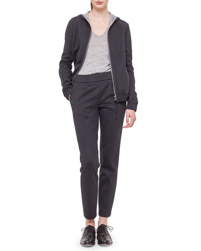 Cashmere-Blend Reversible Hooded Jacket, V-Neck Long-Sleeve Jersey Top & Bi-Color Jersey Casual Pants