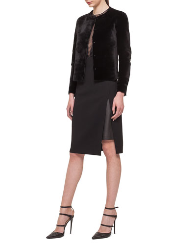 Reversible Sheared Mink Fur/Leather Jacket, Jewel-Neck Tulle V-Inset Top & Leather-Inset Side-Slit Pencil Skirt