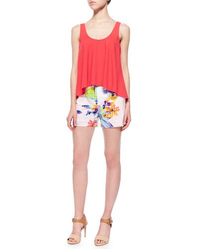 Tahnee Sleeveless Trapeze Peasant Tank & Corbin Floral-Print Perforated Shorts