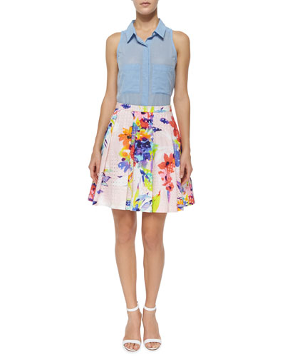 Vivenne Sleeveless Placket-Front Shirt & Marion Floral-Print Party Skirt