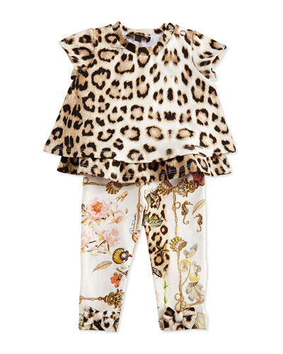 Leopard-Print Layered Ruffle Tunic & Variation Printed Leggings