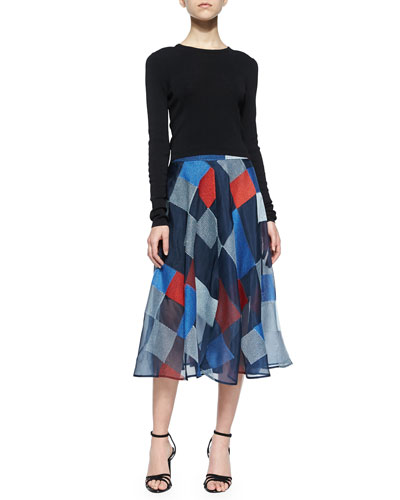Long-Sleeve Crewneck Cropped Pullover & Colorblock Quilt Midi Skirt