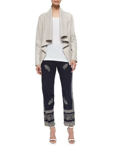 Long-Sleeve Draped-Front Jacket, Scoop-Neck Jersey Tank & Bandana-Print Narrow Pants