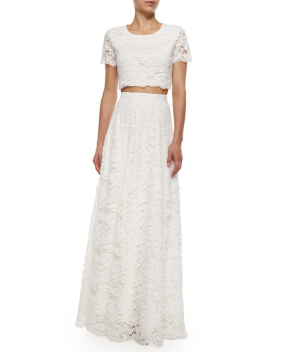 Short-Sleeve Lace Crop Top & High-Waist Rosette Lace Maxi Skirt