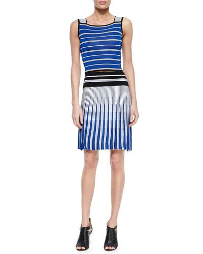 Sleeveless Striped Crop Top & Vertical Striped Knit Skirt