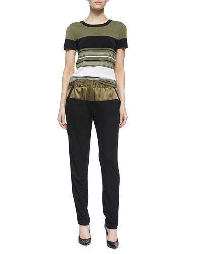 Short-Sleeve Striped Top & Colorblock Matte Jersey Slouchy Pants