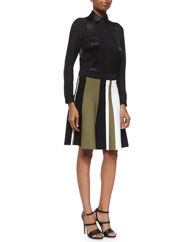 Long-Sleeve Satin Silk Blouse & Colorblock Flared Knit Skirt