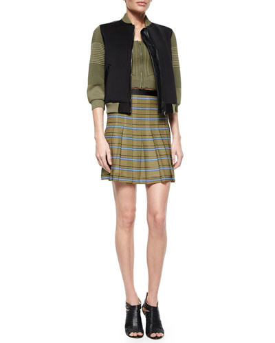 3/4-Sleeve Colorblock Jacket, Sleeveless Zip-Front Crop Top & Striped Pleated Silk Skirt