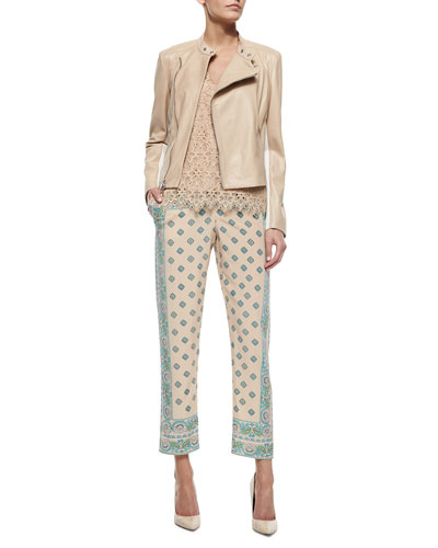 Mock-Collar Asymmetric-Zip Lambskin Moto Jacket, Sleeveless V-Neck Lace Shirt & Paisley-Print Narrow Pants