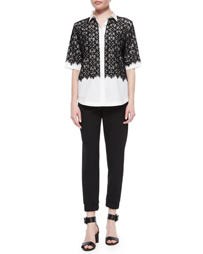Half-Sleeve Lace-Overlay Blouse & Modern Tech Ankle Pants