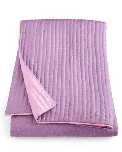 Chenevard Reversible Damson Plum/Magenta Pink Silk Quilt