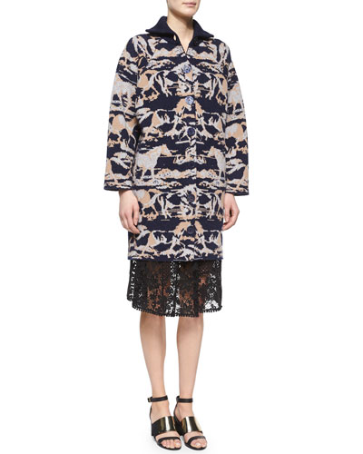 Horse-Print Jacquard Car Coat & Lace A-line Knee-Length Skirt