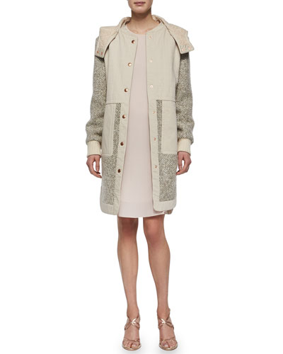 Tweed Hooded Anorak & Long-Sleeve Silk Ruffle-Hem Dress