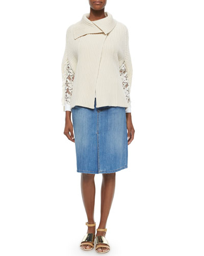 Ribbed Sweater Cape, Long-Lace-Sleeve Top & Denim Skirt with Braid-Trim