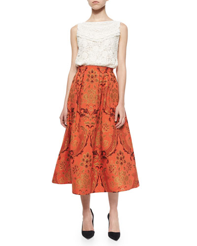 Finlay Fitted Sleeveless Crochet Top & Luisa A-Line Midi Skirt