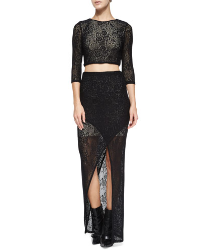 Bernie Lace Crop Top & Rhett Cutaway Lace Skirt