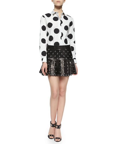 Macro Polka Dots Printed Blouse & Leather Flounce Skirt with Eyelets