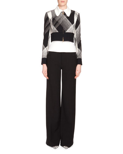 Cero Check Zip-Front Jacket, Cero Check Zip-Front Jacket & Lucanus Wide-Leg Trousers
