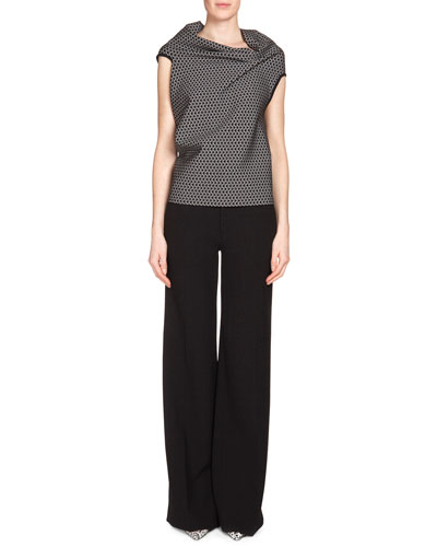 Alston Chain-Birdseye-Print Top & Lucanus Wide-Leg Trousers