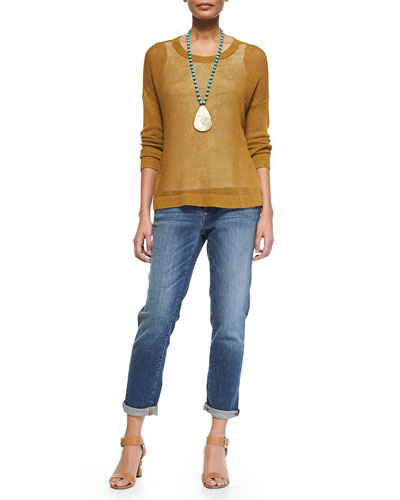 Airy Linen Box Top & Stretch Boyfriend Jeans, Petite