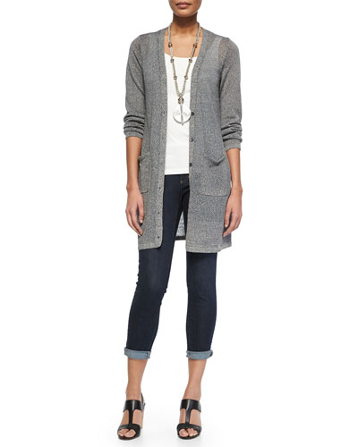Eileen Fisher Long Linen-Blend Cardigan, Organic Cotton Slim