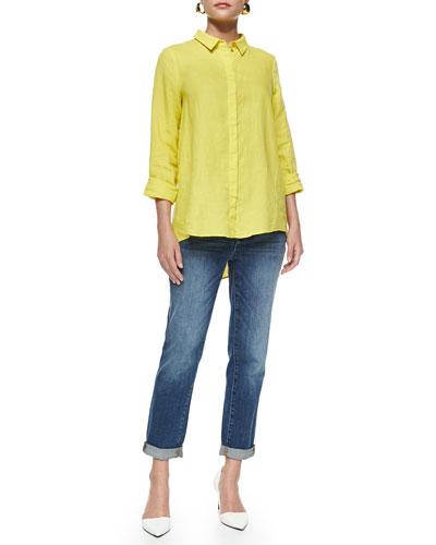 Organic Handkerchief Linen Shirt & Slim Stretch Ankle Jeans, Petite