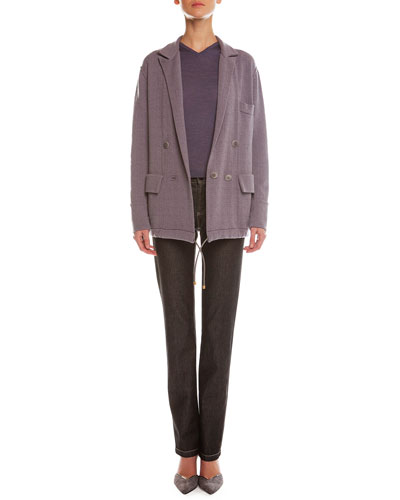 Plaid Cashmere-Blend Jacquard Jacket & Melange Denim Straight-Leg Jeans