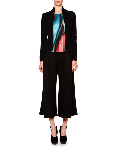 Cashmere-Blend Fleece-Knit Jacket, Abstract-Print Scoop-Neck Top & Cashmere-Blend Jersey Fold-Pleated Culottes